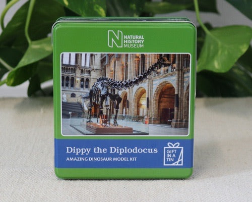 Dippy the Diplodocus in a tin.