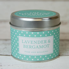 Load image into Gallery viewer, Lavender and Bergamot Polkadot Tin Candle