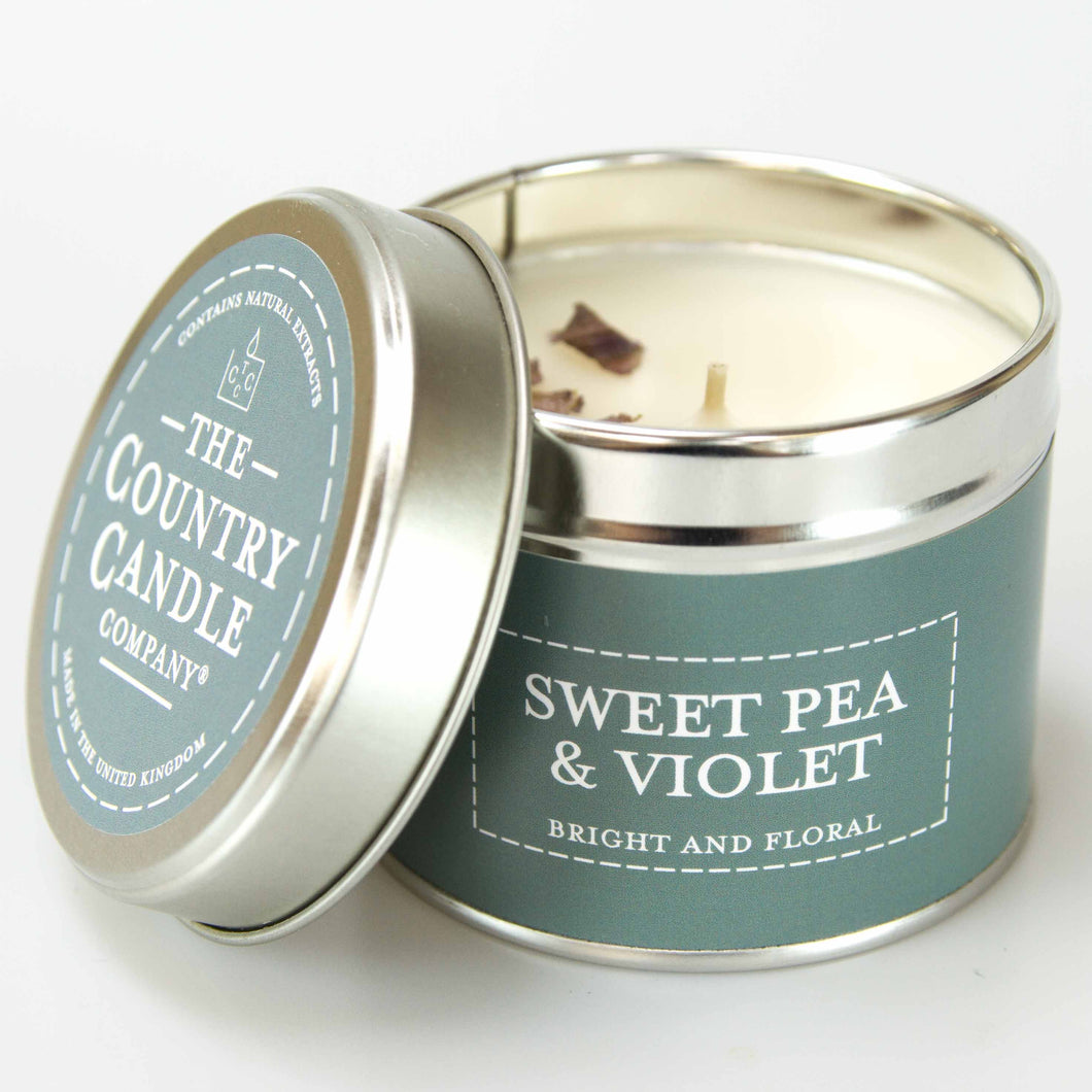 Sweet pea and Violet Tin Candle