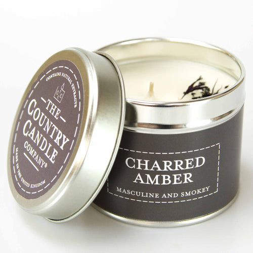 Charred amber Tin Candle