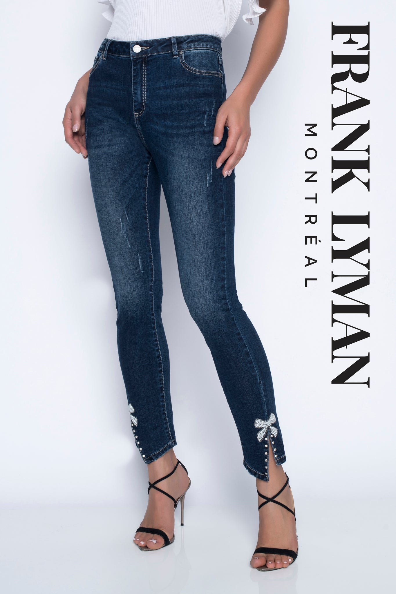 Frank Lyman Denim with Pearl Bow Detail