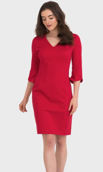Joseph Ribkoff Red V Neck Dress