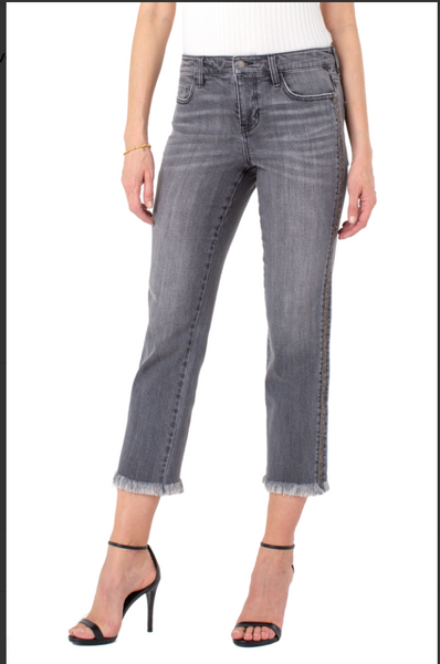 Liverpool Sadie Crop Straight Jean w/Novelty Trim-Cross Road Gray