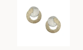 Marjorie Baer Small Disc with Split Patterned Ring Post Earring