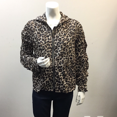 Love Token AMIR ROUCHED SLEEVE HOODED LEOPARD PRINT ANORAK JACKET