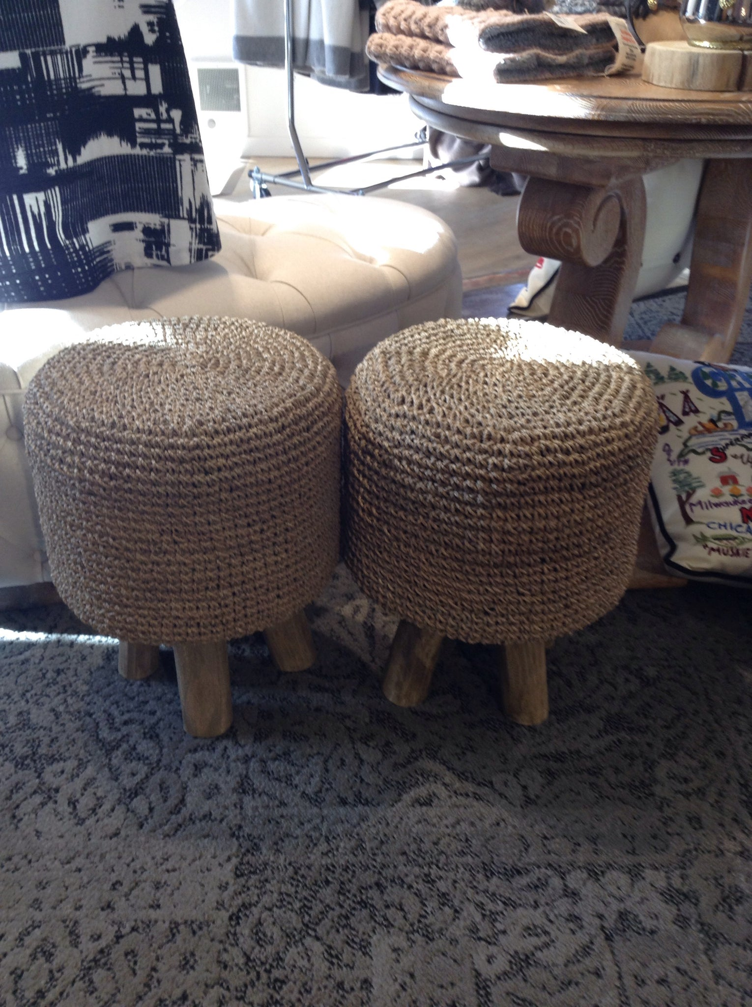 Zodax Equestrian Woven Foot Stool