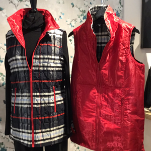 UBU Navy Plaid/Red quilted Zip Front Reversible Vest