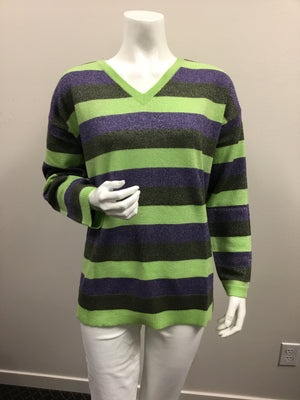 Pure Amici Lime Comb Stripe V Neck Sweater