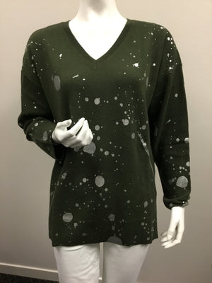 Pure Amici Army V Neck Sweater W/ Silver Paint Splatter
