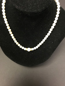 Cindy Borders Delicate Feature Pearl Necklace W/ Fossilized Jasper and Pearl