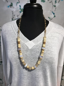 Meghan Browne Austin Wood & Gold Bead Necklace