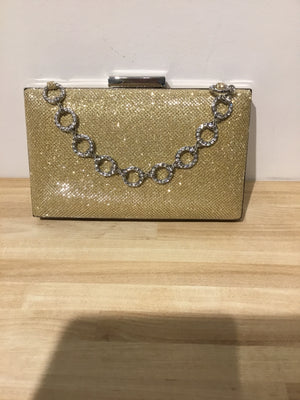 Sondra Roberts Gold Box Clutch W/ Pave Chain Handle