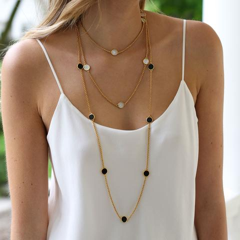 Julie Vos Black Onyx Station Necklace