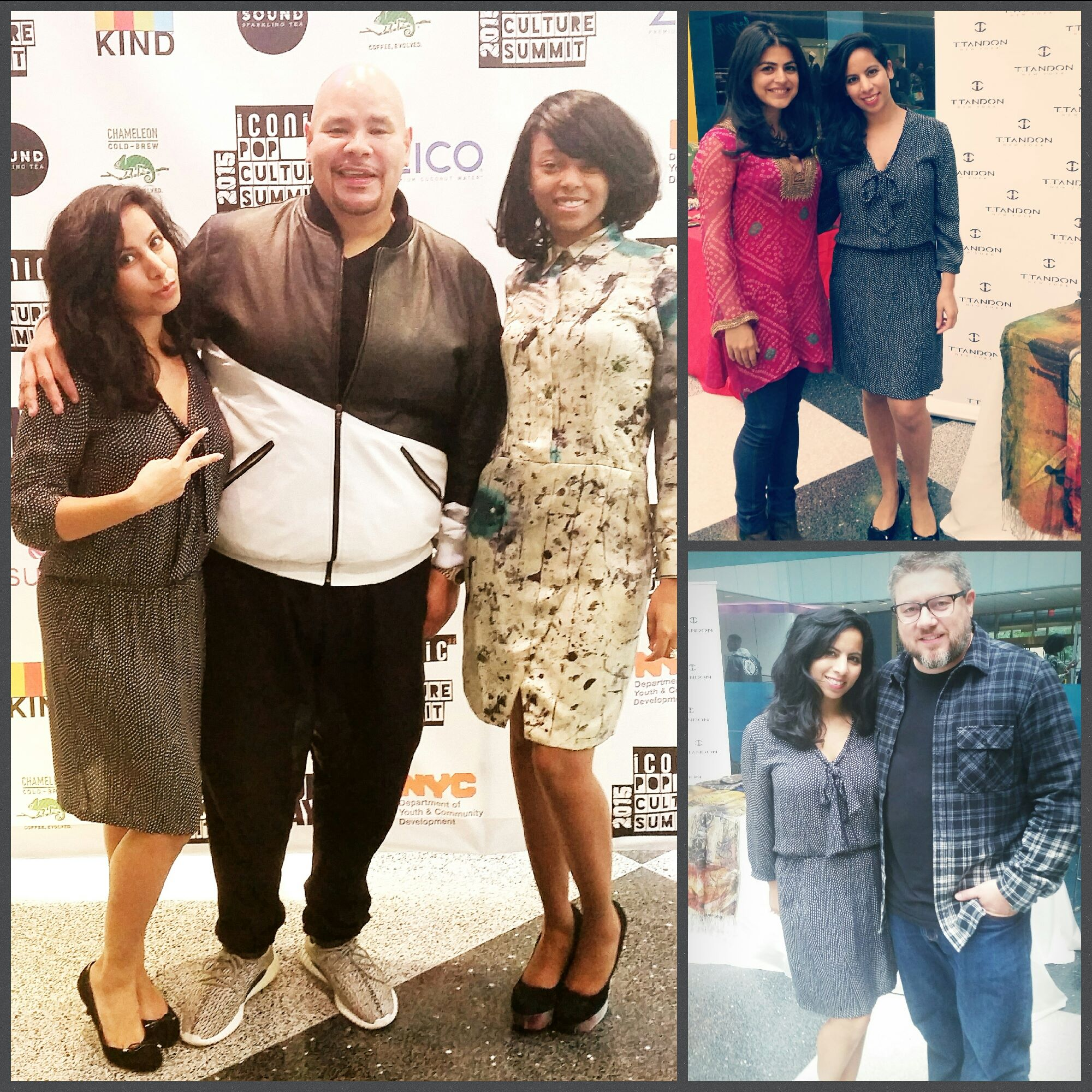 Designer Tina Tandon with rapper Fat Joe, actress Shenaz Treasury, celebrity photographer Jonathan Mannion