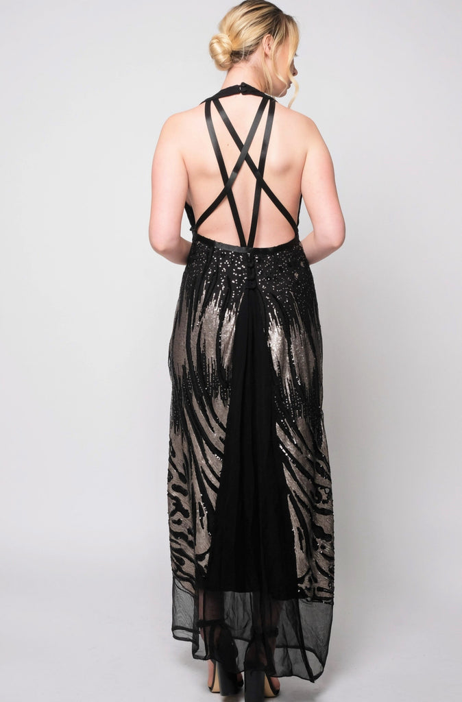 Georgette & abstract sequins design Gown with ribbon detailed open back