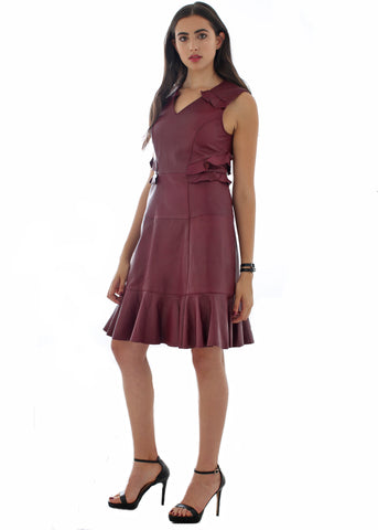 Leather V-neck fit & flare ruffle detail dress