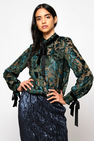 Silk Velvet burnout button down shirt
