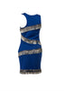 Bodycon asymmetrical shoulder beaded fringe party dress