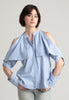 Fold-over cold shoulder pinstripe cotton shirt
