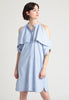 Fold-over open shoulder Cotton shirt dress