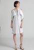 Fold-over cold shoulder cotton shirt dress