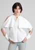 Fold-over cold shoulder button down shirt