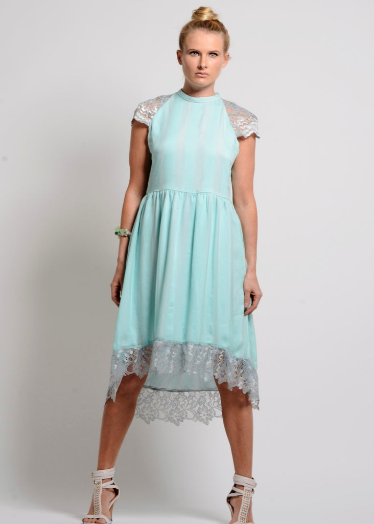 Mint Silk chiffon self-striped fit & flare dress with lace trim