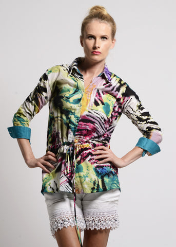Multi color print button down shirt - SOLD OUT