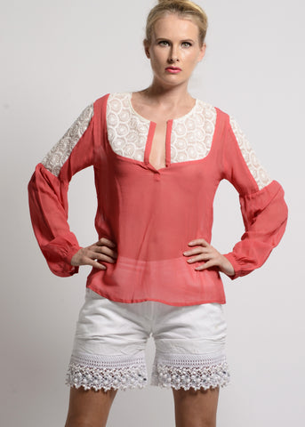 Georgette sheer blouse with chikankari lace details - SOLD OUT