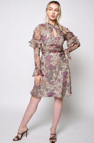 Floral print puff sleeves fit & flare dress