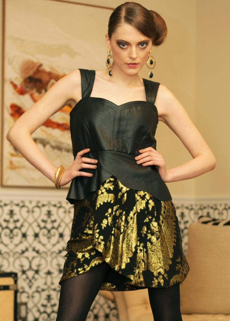 Leather / Silk brocade layered dress