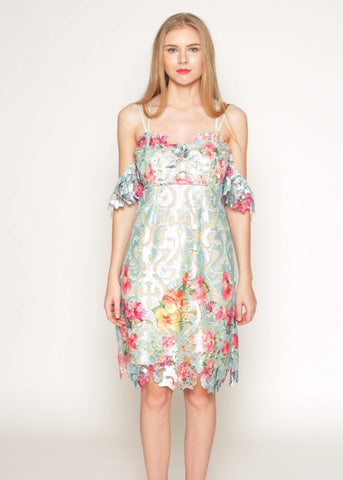 Printed floral lace slip dress with off shoulder sleeves