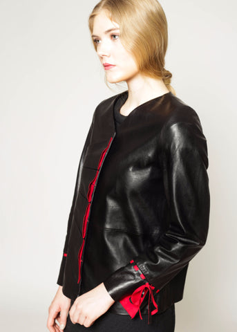 Vegetable dyed 2-Fer pleated leather jacket