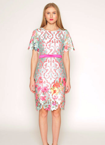 Printed floral lace shift dress with bell sleeves