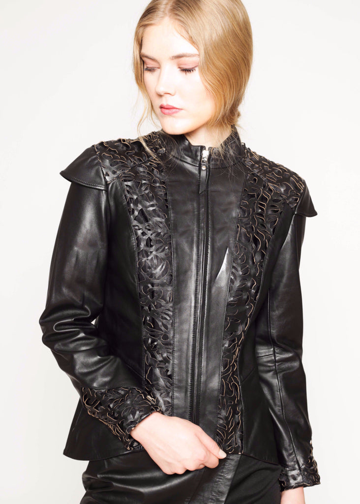 Baroque laser cut detail leather jacket
