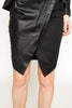 Ponte / Leather skirt with pleat detail