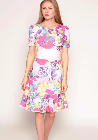 Floral print brocade fit & flare dress