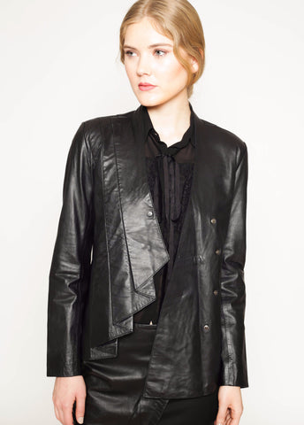 Folded pleats detail front leather jacket
