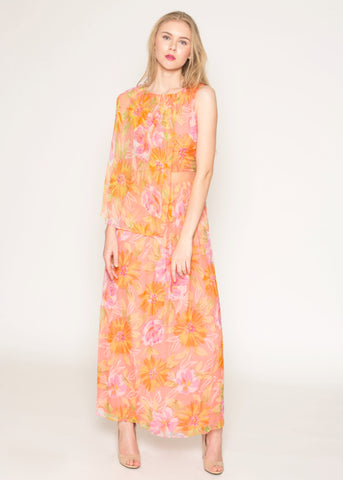 Floral print chiffon capelet sheer midriff dress