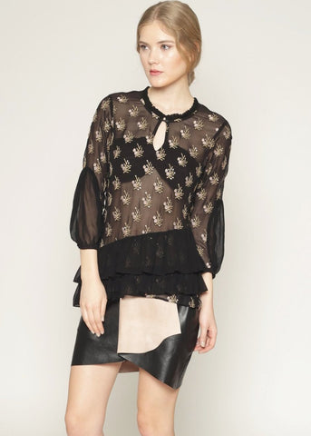 Sheer embroidered ruffle details party blouse