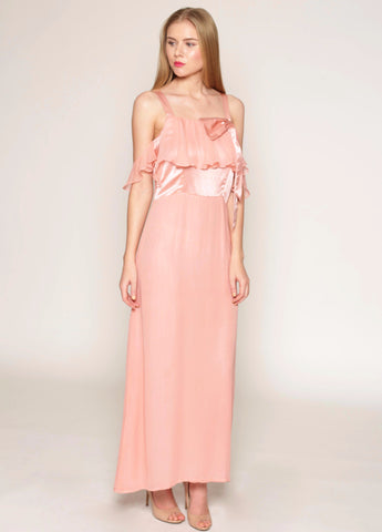 Off-shoulder sleeves, bowtie detail long silk dress