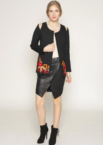 Wool jacket with cutout shoulders and embroidery details