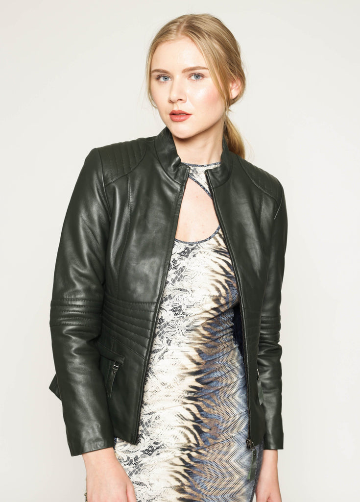 Olive soft leather quilted waist jacket