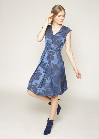 Fit & Flare brocade print dress