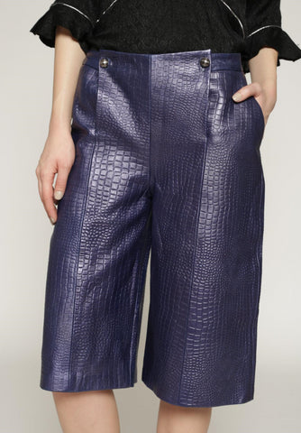 Kel - Metallic croc leather culottes