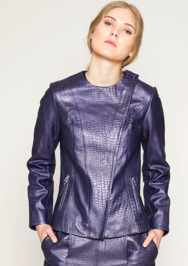 Kelsie - Metallic croc finish wrap front jacket