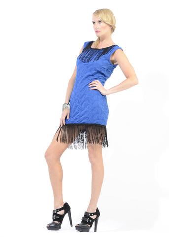 Lika-fringe sheath dress