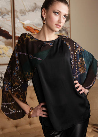 Liza - Silk draped sleeves top - SOLD OUT