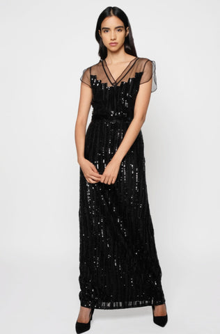 Black sequin stripes long gown