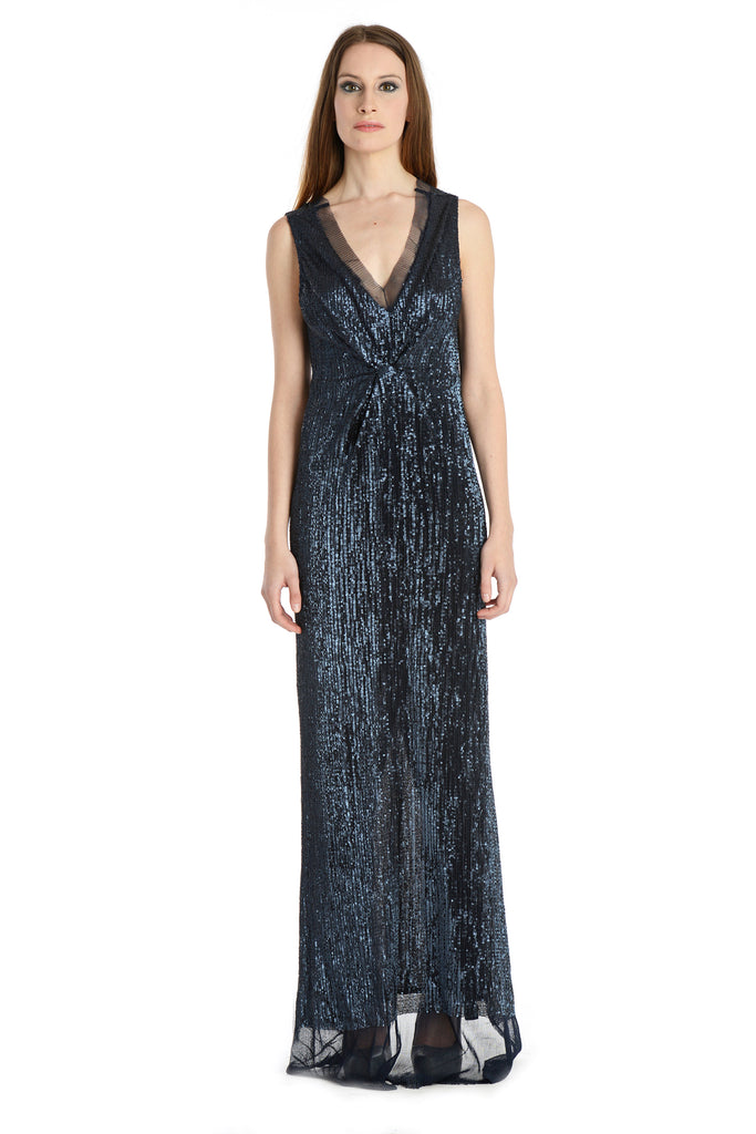 Slinky sequins bodycon cocktail gown